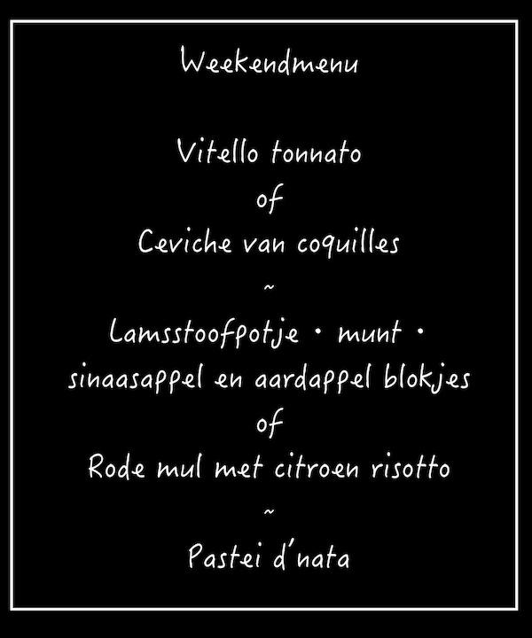 vrijdag zaterdag zondag menu